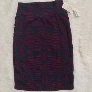 NWT LULAROE CASSIE Teal & Berry Pencil Skirt S 6-8